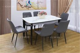 10 bộ bàn ăn mặt đá 6 ghế cho chung cư hiện đại