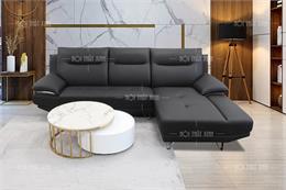 10 mẫu sofa góc da tại Hà Nội thiết kế tựa lưng liền êm ái