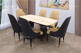 8 bộ bàn ăn mặt bằng đá kết hợp khung inox cực chắc chắn và trẻ trung