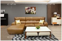BST mẫu sofa góc cho nhà chung cư chất liệu da cực sang
