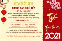 Thông báo lịch nghỉ Tết 2021 tại Nội Thất Xinh