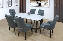 Top 15+ mẫu bàn ăn mặt đá 6 ghế bọc da đáng mua nhất