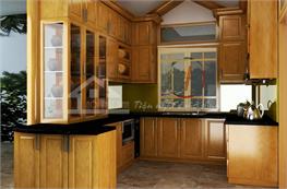 Tủ bếp gỗ sồi mã XGS01
