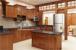 Tủ bếp gỗ xoan đào mã XXD08