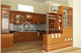 Tủ bếp gỗ xoan đào mã XXD09