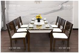 Bàn ghế ăn mặt đá MD01